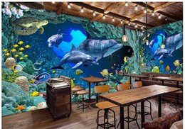 3d wallpaper custom photo non-woven mural wall sticker Blue sea dolphins in the world painting picture 3d wall room murals wallpaper