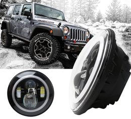 Wholesale Angel Eyes W LED Headlight H4 Hi lo Beam Front Driving Headlamp Off road Driving Fog Light CANBUS For Jeep Wrangler