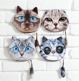 Wholesale 2016 new cat coin purses wallet ladies D printing cartoon fashion animal big face fashion cute zipper square bag for women
