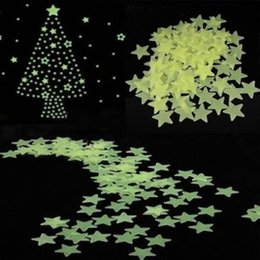 Wholesale 100 pieces wall stickers illuminate In The Dark baby kids bedroom decor bright stars of fluorescent color tattoos wall stickers