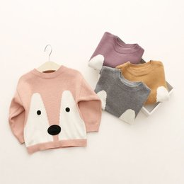 Wholesale Sweaters Wholesale Design - Boy Girls INS Fox sweater 2016 new 4 design children cartoon ins lovely fox Pure cotton layer Long Sleeve Sweaters Pullover B