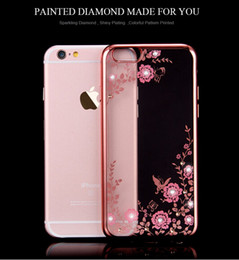 Wholesale Floveme Flora Diamond Case for Apple iPhone plus S Plus Chic Flower Bling Soft TPU Clear Phone Back Cover