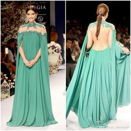 2019 New Arabic Style Evening Dresses Beading High Neck Backless Runway Fashion Evening Dresses Chiffon Formal Party Prom Gowns Plus Size