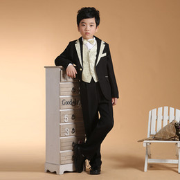 Wholesale New Children s Tuxedos Sets Boys Formal Suits Child Wedding Prom Clothes Set Boy Blazer Suit Outwear Shirt Pants Tie VG0131 smileseller