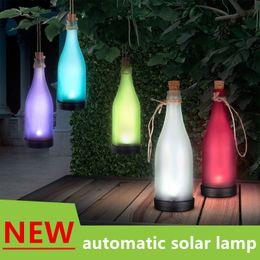 Wholesale European American popular outdoor solar garden lamp chandelier bottle courtyard lawn lamp landscape decoration lamp Beer bottle