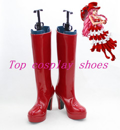 Wholesale-ONE PIECE Perona red high heel cos cosplay shoes boot shoe boot simple ver #15YJZ1 Custom made