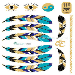 Wholesale new body art painting tattoo stickers Metal gold temporary flash tattoo feather Disposable indians tribal tattoos VT341