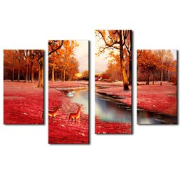 Wholesale 4 Panel Brown Wall Art Painting Deer In Autumn Forest Pictures Prints On Canvas Animal Picture For Home Decor with Wooden Framed