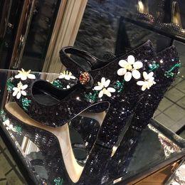 Wholesale Dress shoes heel high shoppe copy same as original highest quality with roes glitters soft sheepskin mat italian genuine leather tread