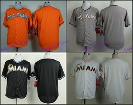 Authentic Miami Marlins Blank No Name Jersey White Grey Black Orange Cool Base Stitched Cheap Baseball Jersey Embroidery Logo