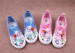 Wholesale Girls cartoon Frozen print slip on Sneakers Kids casual plimsolls Children cartoon movie vulcanized shoes Elsa Anna Sneakers family matching