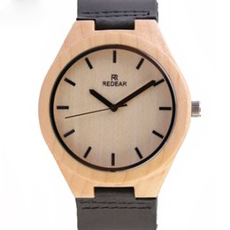 Wholesale 2016 Hot Marketing Bamboo Wooden Watches Mens Fashion black Leather Analog Quartz Wrist Watch for gift