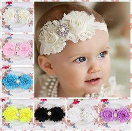 New Shabby Flowers Baby Headbands Hairband Chiffon Fabric Flower Pearls Rhinestones Button 14 Colors Children Hair Accessories Free Shipping