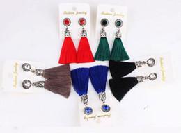 Ethnic Bohemian Retro Silver Crystal Tassels Silk Thread Tassel Stud Earring For Women Gift Jewelry Wholesale 10 Pairs