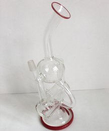 Wholesale 2016 Double Recycler Glass Water Pipe Round Ball Glass Hookah New Cylinder Blade Filter Glass Bong Height cm with mm Joint Tobacco