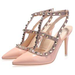 High Quality Brand Designer Rivet Shoes woman tivets dress shoes 8cm Patent Leather Heels Sandals Sexy