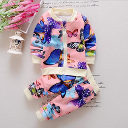 Wholesale 2016 Spring Autumn Baby Toddler Kids Girls Cotton Clothes Butterfly Cardigan Tops Pants Outfits Set Clothing Sets