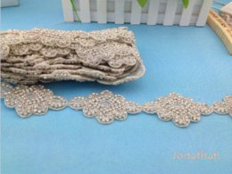 Wholesale 2014 new bridal crystal accessories applique patches lace motif Bridal Beaded Appliques M62835 applique sewing