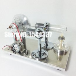 2015 New Hot Air Stirling Engine Model Power Electricity Generator with LED Light and Burner Holder