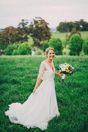 2016 lace wedding dresses garden lace wrap v neck bridal wedding gown chiffon long white elegant bridal dress