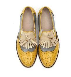 Promotion la conception de chaussures de couleur style européen Flats 14 couleur design en option Véritable correspondant cuir couleur grand format oxford chaussures de marque 100% vachette femmes