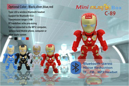 Wholesale C Iron Man bluetooth speaker with LED Flash light Iron Man figure Robot portable Mini wireless subwoofers bluetooth support TF FM USB DHL