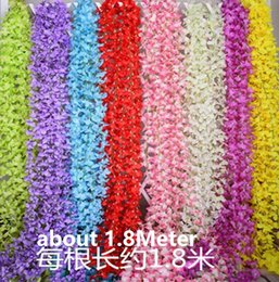 Wedding party favors Artificial flowers 1.8M Silk Flowers Long Wisteria Vine Rattan For Wedding home Christmas decorations HW010