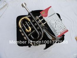 Inventario libre en venta--fabricantes venden al por mayor inventario de la trompeta de bolsillo de 123 mm trompeta grande, el musical superficie del instrumento Bb palma del negro del envío