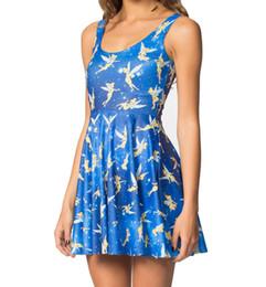 Promotion bleu peplum robe noire NOUVEAU NOIR lait noir 1129 sexy 6 style fille femmes été bleu mignon esprit peri 3D imprime veste reversible sans manches patineuse plissée robe