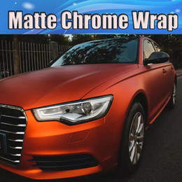 Satin Chrome Matte orange Vinyl Wrap Car Wrap With Air Release whole car wrapping covering foil 1.52x20m Roll   4.9ft*66ft