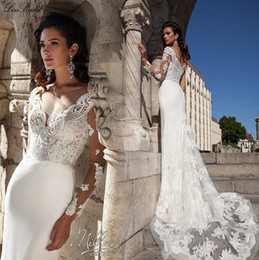 Wholesale Vestido de noiva New Sexy Wedding Dresses Milla Nova Illusion Neck Long Sleeves Court Train Applications Lace Mermaid Bridal Gowns