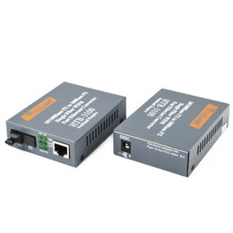 Wholesale 1 pair Htb ab Optical Fiber Media Converter Fiber Transceiver Single Fiber Converter km SC M Singlemode Single Fiber