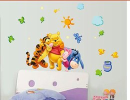 Wholesale ZY TC1068 Cartoon Bear Friends Wall Stickers Hi Quality Kid Favorite Brother Nursery Wallart Decor Mixable Small Size