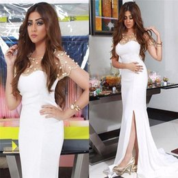 2016 Crystals Nancy Ajram Celebrity White Split Evening Dresses Mermaid Scoop Illusion Neck Beaded Long Prom Formal Dresses Evening Wear
