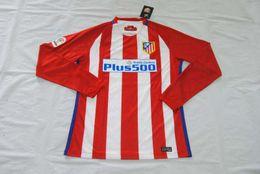 Wholesale Quality assurance spain atc Atletico Madrid long sleeve home away thailand soccer Jerseys uniforms shirt Griezmann gamerio carrasco