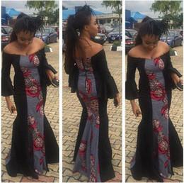 Wholesale Women off shoulder elegant long dress long sleeve high waist package hip party dress african printed dress with back zipper