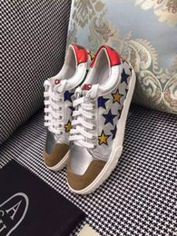 Wholesale Famous Designer Brand ASH Colorful Stars Sneakers Top Quality Genuine Leather Casual Shoes Women White Sports Shoes