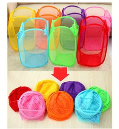 Wholesale Color net Dirty clothes basket Foldable dirty clothes storage basket Dirty clothes baskets Laundry baskets for Home Housekeeping Use JF