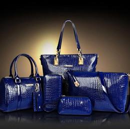 6Pcs Set Fashion Women Bag Crocodile Pattern Composite Bag Stone Women Messenger Bags Shoulder Handbag Purse Wallet PU Leather Handbags