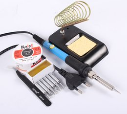Wholesale Adjustable Thermostatic Electric Soldering iron W V Solder Station With Iron Stand Solder Wire Tweezers Welding Repair Tool