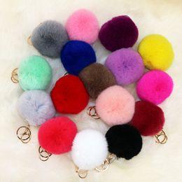 Mixture Cute genuine Rabbit fur ball plush key chain for car key ring Bag Pendant car pompom keychain