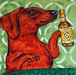 Wholesale Dachshund at the bar beer art dog coaster tile gift new impressionism animals Hand Painted Art Oil Painting any customized size accepted sch