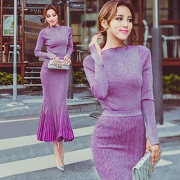 Wholesale 2 pieces sets women elegant crop top purple knitting long sleeve knitting Sweater striped pleated fishing tail maxi skirt suit sets