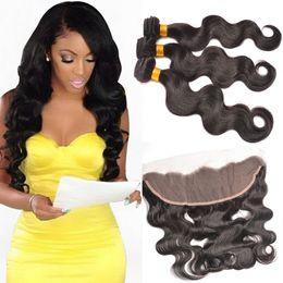 13x4 Lace Frontal with Bundles Brazilian Peruvian Indian Malaysian human Hair Bundles with Top Lace Frontal 7A Grade Human Hair WEAVES