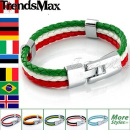 Wholesale 2016 Hot Sale National Flags Bracelets Olympic Games World Cup Fans Braided Rope Charms Bracelets Unisex Pu Leather Bracelet