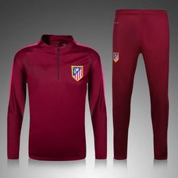 Wholesale 2016 Long Sleeve Jujube Atletico Madrid Tracksuit Jogging Soccer Sets Football Suit Madrid Sweater Sport training Kit