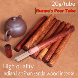 Wholesale 20g tube nature classic aroma indian Mysore sandalwood incense sticks buddhist with burma s rosewood box home decoration living room bedroom