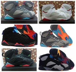 Men Retro 7 VII Basketball Sport Shoes 2016 High Quality Male Athletics 7s MarTiNs Sneakers White Grey Black Free Shipping