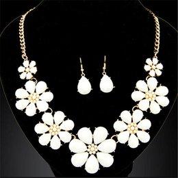 Trendy Metal Joker Sweet Flower Necklace   Earrings Jewelry Sets Many Colors