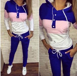 Wholesale Ladies Knee Length Sweaters - 2016 European Even Hat Printing Motion Twinset Sweater Women Sports Ladies Tracksuits